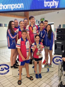 Some of Hatfield's younger regional swimmers collect the overalll top club trophy